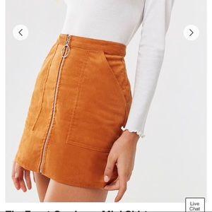 Zip front corduroy skirt
